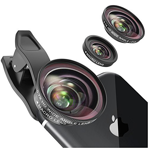 Vorida Cell Phone Camera Lens, Professional HD Camera Lens Kit Clip-On Lens,Wide Angle Lens +Macro Lens Compatible for iPhone X/8/7/7 Pus/6s/6s Plus/6 ipad Samsung etc. (2 in 1)