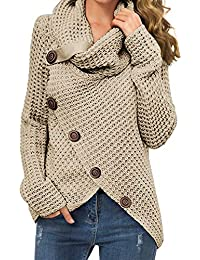 Women's Casual Turtle Cowl Neck Asymmetric Hem Wrap Pullover Chunky Button Knit Sweater