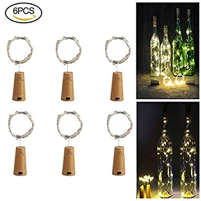 Wine Bottle String Lights Cork, Centtechi 6 Pack 20 LED Silver Copper Wire Starry Fairy Lamp for Home Decorative, DIY, Party,Wedding Decorations,Christmas Festival Holiday (2m/7.2ft)--Warm White
