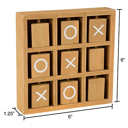 Hey! Play! Tic-Tac-Toe Small Wooden Travel Game with Fixed, Spinning Pieces - Traveling Board Game for Adults, Kids, Boys and Girls by by Hey! Play! (Image #1)