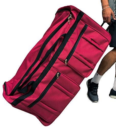 Gothamite 36-inch Rolling Duffle Bag with Wheels | Luggage Bag | Hockey Bag | XL Duffle Bag With Rollers | Heavy Duty (Fuchsia)