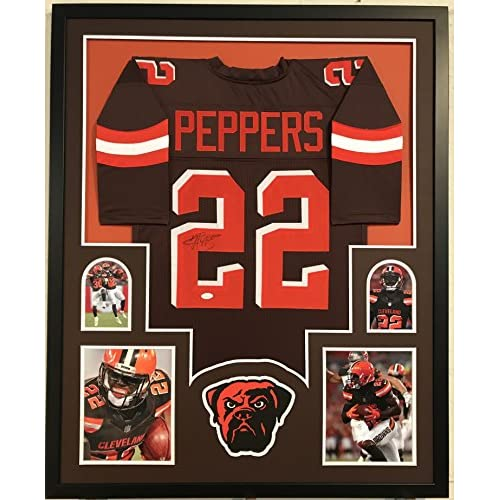 info for 9bc35 48cea Jabrill Peppers Autographed Custom Framed Cleveland Browns ...