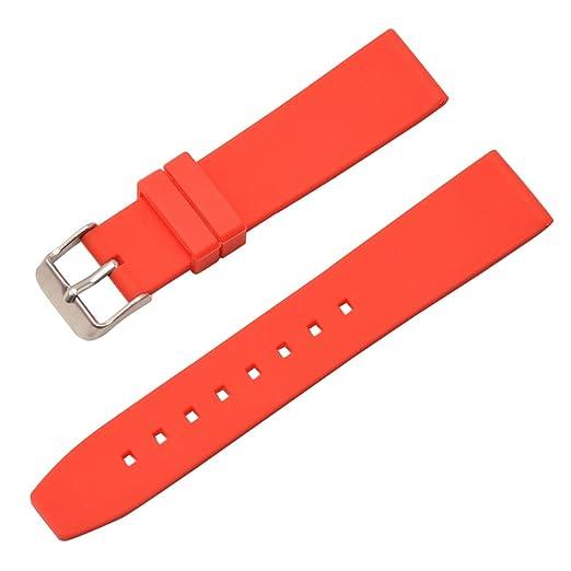 bandas de caucho reloj para hombre correa de silicona transpirable brazalete rojo impermeable del reloj de la hebilla de acero de 22 mm: Amazon.es: Relojes