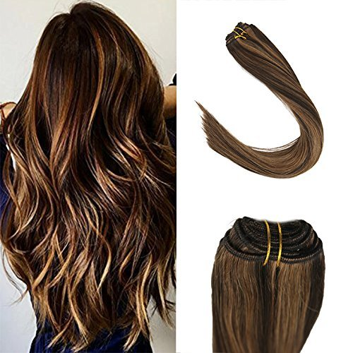 (Sunny 14inch Seamless Weft Sew in Hair Bundles Multi Color Darkest Brown with Caramel Blonde Hair Extensions Human Hair Weft Hair Brazilian)