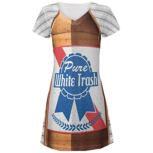 [4th of July Halloween Pure White Trash Beer Costume All Over Junior's V-Neck Beach Cover-Up Dress] (White Trash Lady Costume)