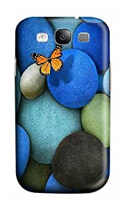Samsung S3 Case,VUTTOO Stylish Beautiful Pebbles And Butterfly Hard Case For Samsung Galaxy S3 I9300 - PC 3D