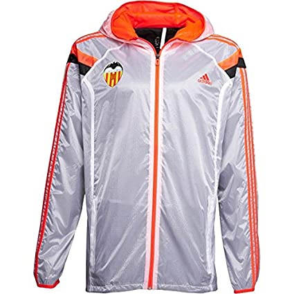 Adidas Valencia CF Himno Chaqueta con Cremallera Completa para Hombre Blanco fútbol fútbol Top