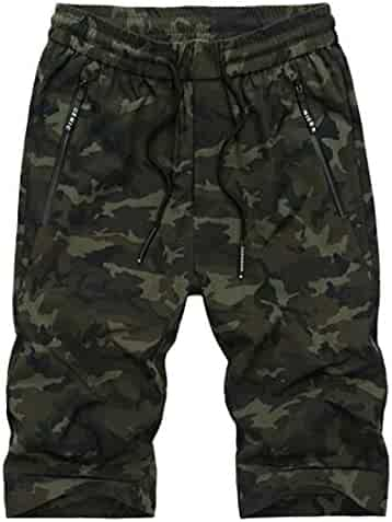 88e44fb014c2 Cromoncent Mens Elastic Waist Camouflage Printed Vogue Summer Casual Beach  Loose Short