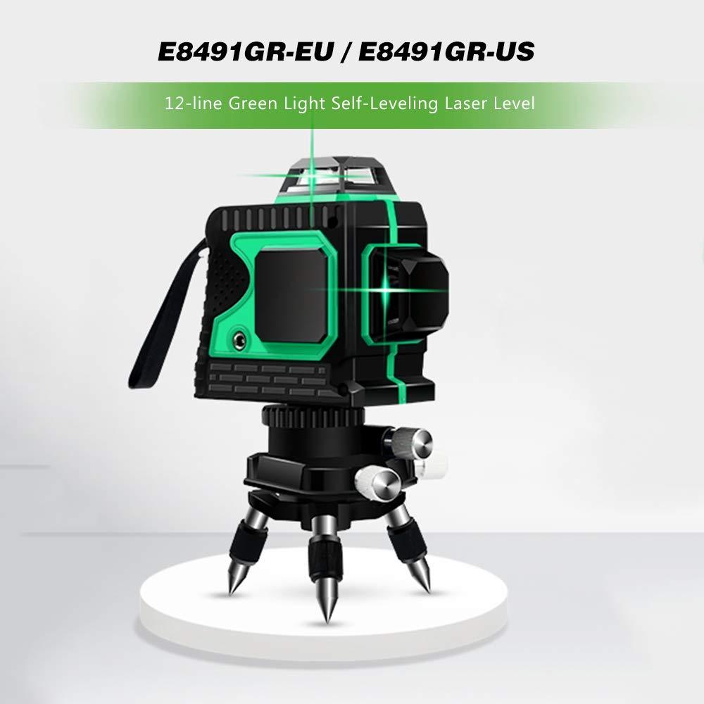 KKmoon Medidor de nivel de haz l/áser verde Control t/áctil Nivel de l/áser L/ínea profesional L/áser de 12 l/íneas autonivelante Nivelador l/áser de l/ínea cruzada con base pivotante Rojo//Verde