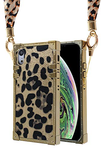 Leopard iPhone XR case, Detachable Phone Scarf Lanyard Cell Phone Holder Necklace Girls Women Leopard Pattern Case for iPhone xr (Gold) Cell Phone Case Pattern