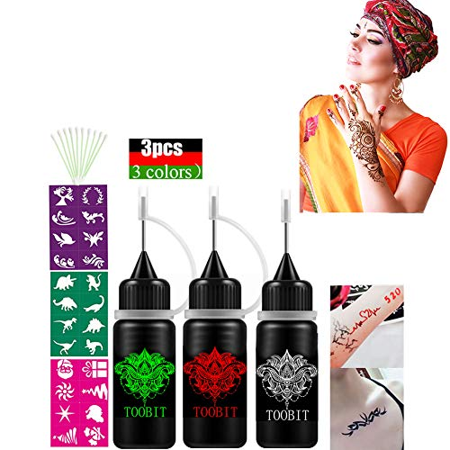 (India Temporary Tattoo Kit 3 pcs Semi-Permanent Tattoo Paste Jagua Freehand Gel/ink Black Red Green Body Art Coating,Natural Organic,3 PCS Tattoo Bottle 3 Stencils and 10 Cotton Swabs for Women)