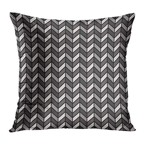 LOULNN Throw Pillow Cover Chevron Herringbone Pattern in Black and Gray Tweed Zigzag Classic Decorative Pillow Case Home Decor Square 20x20 Inches Pillowcase
