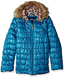 Limited Too Little Girls\' Toddler Quilted Iridescent Puffer, Teal, 2T