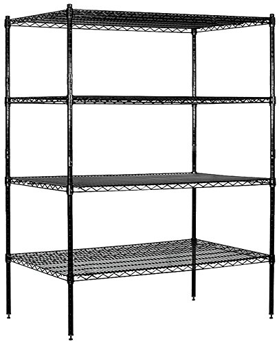 Salsbury Industries Stationary Wire Shelving Unit, 48-Inch Wide by 63-Inch High by 24-Inch Deep, Black W/ 4 Shelves