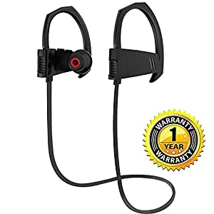 Bluetooth Headphones, Wireless Headset V4.1 Heavy Bass Stereo In Ear Earbuds Noise Isolating Waterproof Sports Earphones with Mic -Black