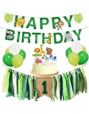 TownLights Jungle Theme Baby First Birthday Decorations Kit for Girl Boy 1st Birthday Party Supplies Green Highchair Banner, Birthday Banner, Animal Cake Toppers, White and Green Balloons