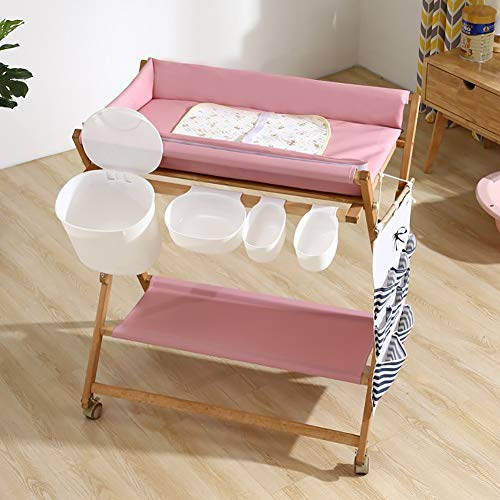 (Wooden Baby Diaper Changing Table Folding Care Station with Casters, Storage and Cushion, Nursery Organizer for Small Space (Color : Pink))