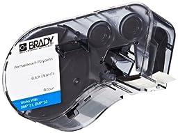 Brady MC-125-342 Polyolefin B-342 Black on White Label Maker Cartridge, 7\' Width x 15/64\