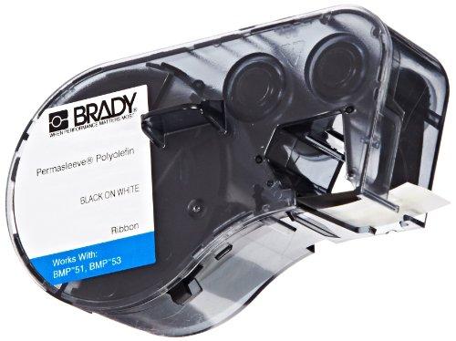 Brady MC-125-342 Polyolefin B-342 Black on White Label Maker Cartridge, 7' Width x 15/64'' Height, For BMP51/BMP53 Printers by Brady
