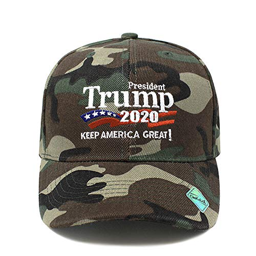 ChoKoLids Trump 2020 Keep America Great Campaign Embroidered USA Hat | Baseball Bucket Trucker Cap (Ball Cap Wood Camo)