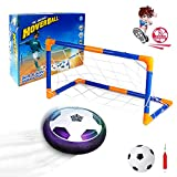 Vcostore Hover Soccer Ball with 2 Goals, LED Light Up Football Toys with Inflatable Ball & Air Pump, Air Power Soccer for Indoor Ball Toy Games for Boys and Girls Bday Gift Indoor Activities Fun