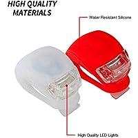 Fligatto LED-Klemmlichter mit Silikonband für Fahrrad, 2 Pack, weiß rot