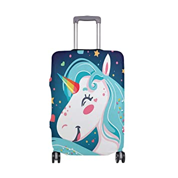 Unicorn Art Elastic Travel Luggage Cover,Double Print Fashion Washable Suitcase Protector Cover Fits 18-32inch Luggage