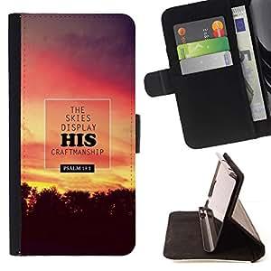Momo Phone Case / Flip Funda de Cuero Case Cover - BIBLIA Los Cielos Pantalla Su Trabajo artesanal - Salmo 19: 1; - Huawei Ascend P8 Lite (Not for Normal P8)
