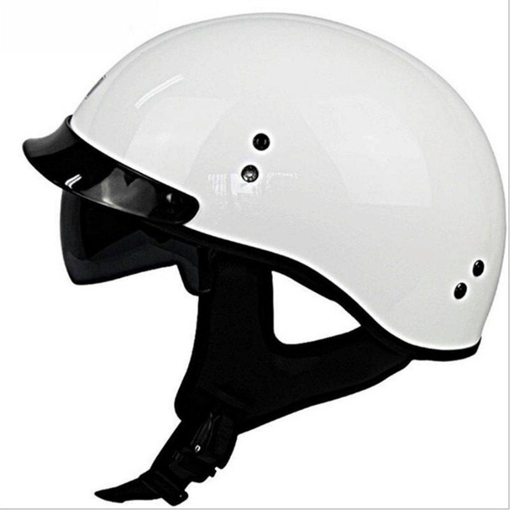 DGF ヘルメットホワイトオートバイ超軽量グラスファイバーヘルメットモトクロスライドアウトドアスポーツ機関車トランポレット男性と女性ハーフヘルメットヘルメット (サイズ さいず : XL) B07FMY3ZRP X-Large X-Large