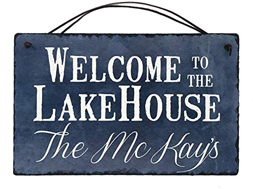 Sassy Squirrel Beautifully Handcrafted and Customizable Slate Home Address Plaque Sign Welcome to The Lake House (12