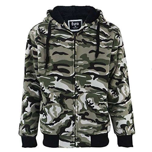 Heavyweight Sherpa Lined Full Zip Up Camo Fleece Hoodie for Men Winter Grey Blue Green Mens Sweatshirts Jacket (Camo Green, L)