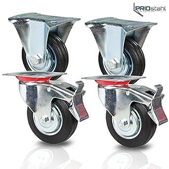 Pack de 4 ruedas para equipo de transporte - Para cargas pesadas - 2 ruedas fijas