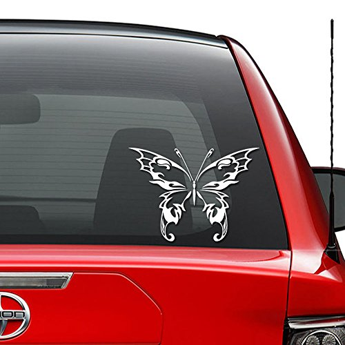 Tribal Art Butterfly Tattoo Vinyl Decal Sticker Car Truck Vehicle Bumper Window Wall Decor Helmet Motorcycle and More - (Size 5 inch / 13 cm Wide) / (Color Gloss - Tribal Sticker Butterfly