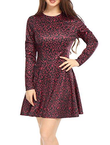 Allegra K Damen Leopard Druckt Lange Armel Uberknie A Linie Kleid