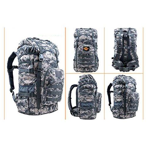 AMOS Bolso al aire libre del alpinismo bolso 50L hombres y bolso de hombro de las mujeres bolso del recorrido de la capacidad grande del recorrido paquete de los deportes bolso del ordenador del bolso ACU camouflage