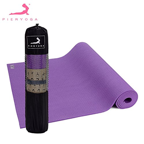 PIERYOGA 6mm Thick Yoga Mat PVC Pure Color Pilates Sports Gym Exercise Pad Non-Slip Training Fitness Rolling Gymnastics Mat
