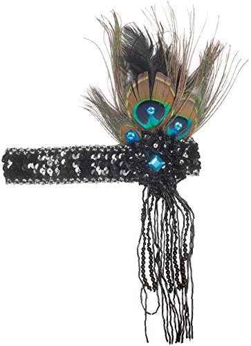 Loftus International Star Power Sequined Headband with Peacock Feather & Tassles Black Teal Novelty -