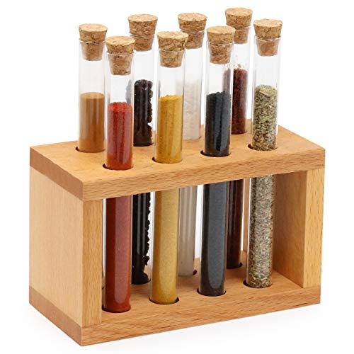 Chemistry Spice Rack Set 8 Glass Test Tubes With Cork Stoppers Wooden Herb Organizer Elegant Kitchenware, Seasoning Container (Spice Chemistry)