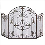 Gifts & Decor Rustic Scrollwork Iron Florentine Fireplace Screen