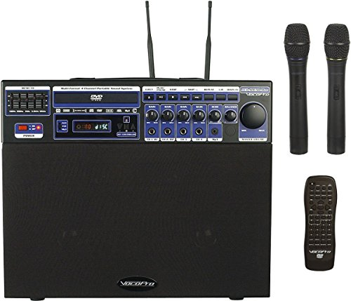 Channel Pa 4 System (VocoPro DVDSOUNDMAN2 Multi-Format 4 Channel Portable Sound System with 2 Wireless Microphones and Carry Bag-24)