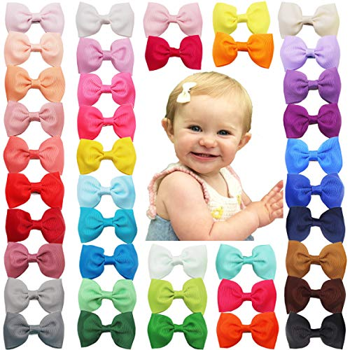 40Colors 2.75 Hair Bows Grosgrain Ribbon Bows Alligator Hair Clips Hair Accessories for Baby Girls Toddlers Kids Teens
