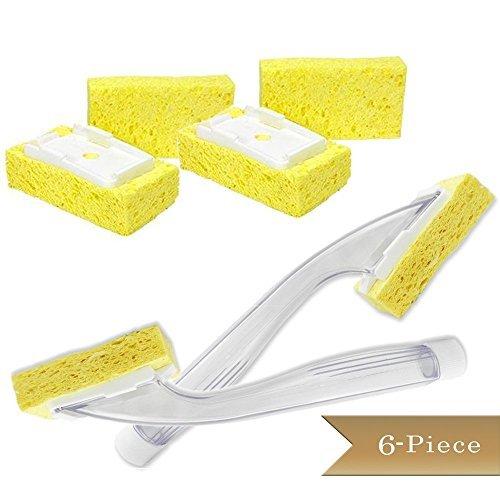 6-piece-set-truecraftware-two-dish-sponge-liquid-soap-detergent-dispensers-with-built-in-scraper-and