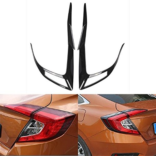 Brand New-Pair Carbon Fiber Tail Light Eyelid Trim Sticker For Honda Civic 10th Sedan 2016 ()