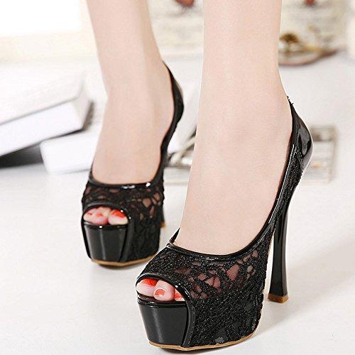 COOLCEPT Mujer Moda Sin Cordones Sandalias Peep Toe Tacon de Aguja Zapatos Negro