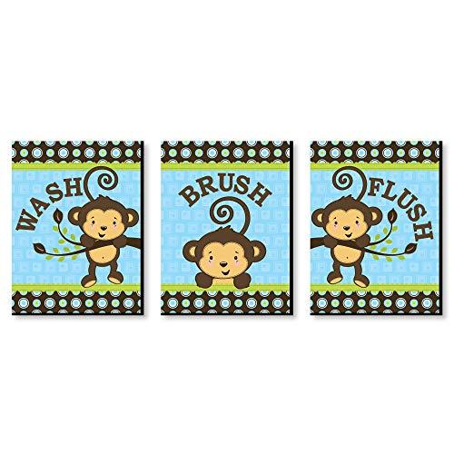 (Monkey Boy - Kids Bathroom Rules Wall Art - 7.5
