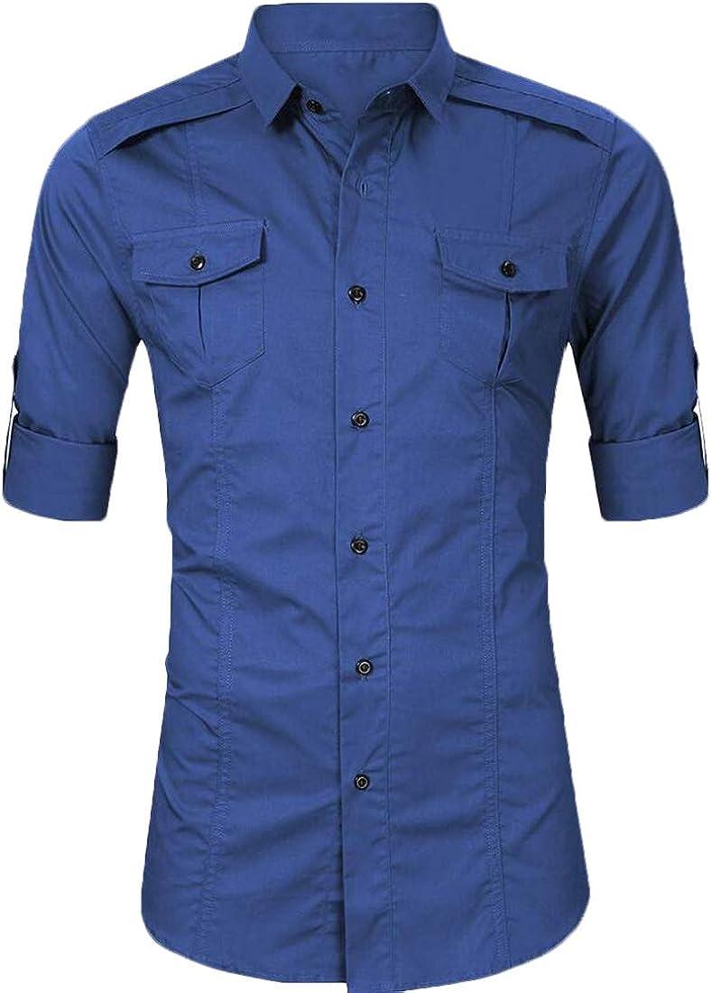 Gocgt Mens Fashion Long Sleeve Button Down Shirts Casual Dress Shirt