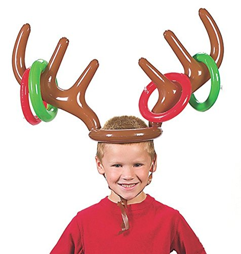 - Christmas Holiday Party Toy, Giveme5 Inflatable Reindeer Antler Hat Ring Toss Game