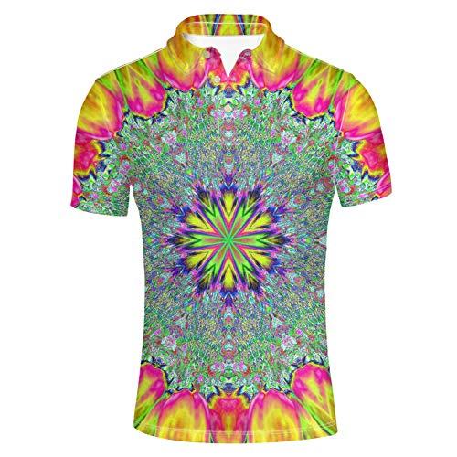 HUGS IDEA Butterfly Printed Mens Fashion Pique Polos Shirt Short Sleeve