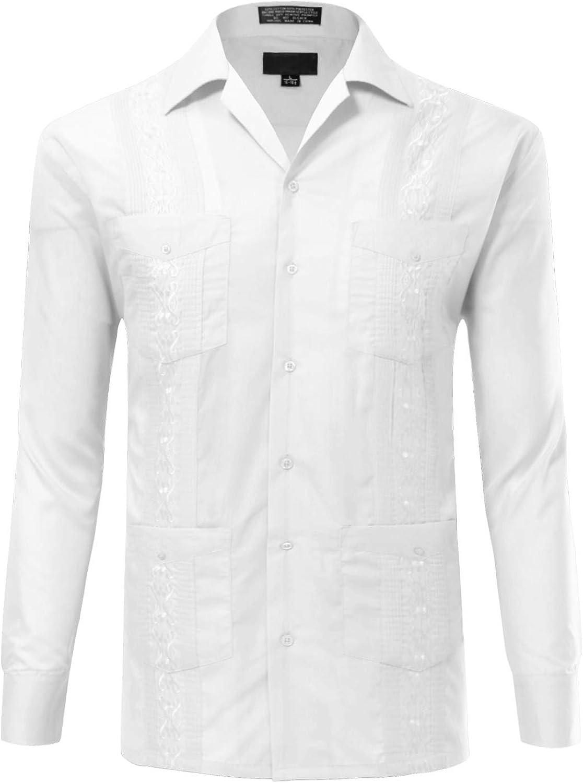 Allsense Men's Long Sleeve Cuban Guayabera Shirts