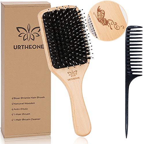 Hair Brush Boar Bristle Hairbrush for Thick Curly Thin Long Short Wet or Dry Hair Adds Shine and Makes Hair Smooth, Best Paddle Hair Brush for Men Women Kids (Best Hairbrush For Long Hair)